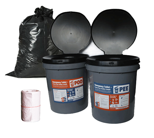 Image of bucket toilet kit, to be used in emergencies
