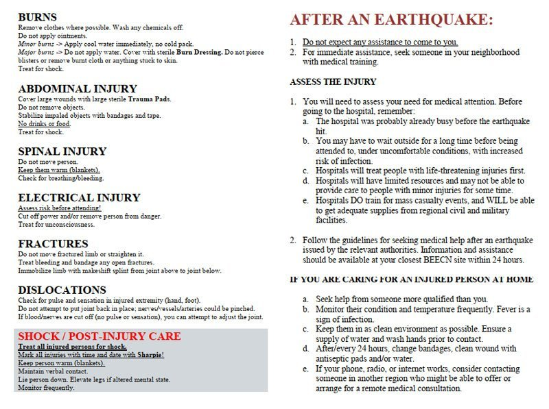 First Aid instructions 2