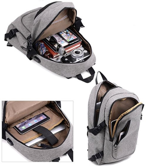 Gray backpack open