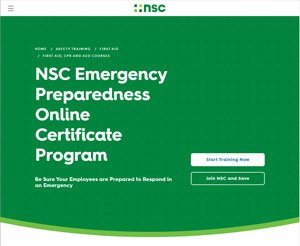Emergency Preparedness Online Certificate Program website image