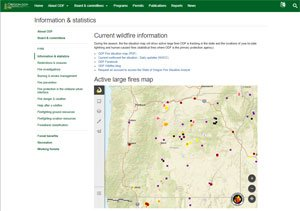 Image of Oregon.gov website showing a map with wildfires