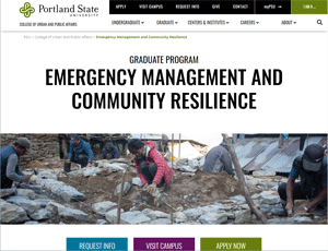 PSU website image for new grad program in Emergency Management and Community Resilience