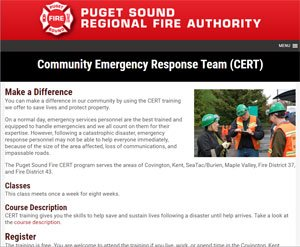Puget Sound community emergency response team website image