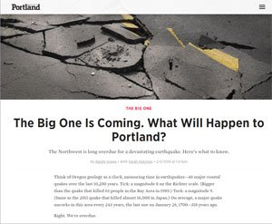 News article about The Big One