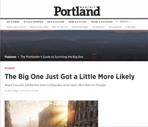News article about The Big One - a major earthquake