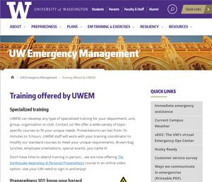 UW Emergency Management webpage
